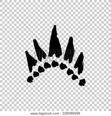 Crowns Drawn By Hand. Set Texture Strokes Thick Paint In The Form Of A Crown Isolated On White Backg
