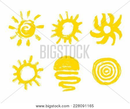 Sun Paint Brush Strokes Vector. Painted Sun Icon. Grunge Design Element For Weather Forecast Website