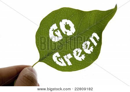 Go Green Message On A Leaf