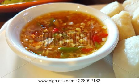 Chilli With Fish Sauce(prik Nam Pla) Selective Focus. It Seasoning Has Red And Green Fresh Chili In