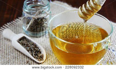 Cumin Seed Tea With Honey, Jeera Water For Weight Loss In Glass Mug Closeup