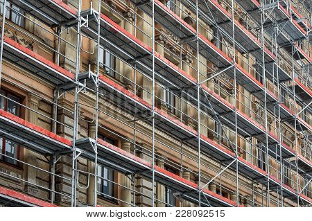 Scaffolding Around The House - Historical Building Facade Renovation
