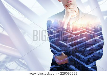 Thoughtful Businessman On Labyrinth Background. Challenge And Success Concept. Double Exposure