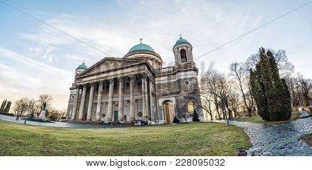 Panoramic Photo Of Beautiful Basilica In Esztergom, Hungary. Cultural Heritage. Travel Destination.