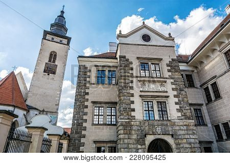 Church Of The Holy Spirit And The Castle, Telc, Czech Republic. Architectural Scene. Unesco World He