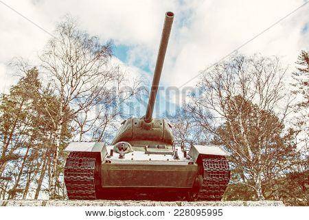 Soviet Medium Tank T-34 Of The World War Ii., Kezmarok, Slovak Republic. Symbolic Object. Yellow Pho