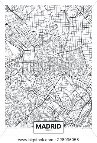 Detailed Black And White Vector Poster City Map Madrid