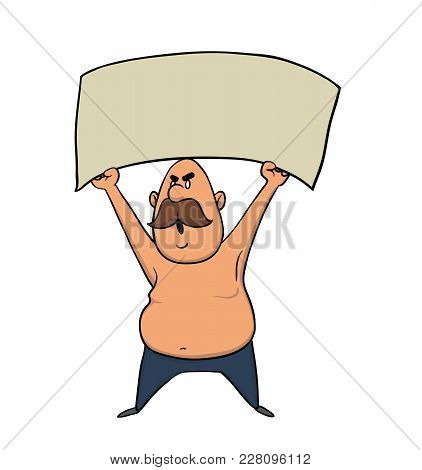 Man Holding Blank Protest Sign. Vector Illustration, Isolated On White Background.