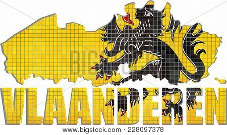 Flanders Map With Flag Inside - Illustration, Flemish Map Grunge Mosaic, Font With The Flanders Flag