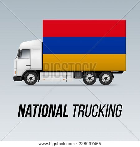 Symbol Of National Delivery Truck With Flag Of Armenia. National Trucking Icon And Armenian Flag