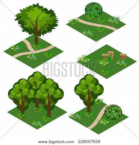 Landscape Isometric Tile Set. Cartoon Or Game Asset To Create Forest Or Garden Landscape Scene. Isol