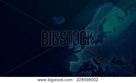 Polygonal Map Of Europe With Luminous Particles, Technology Futuristic Vector Background