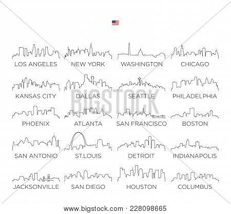 Usa Skyline City Line Art, Vector Illustration Design