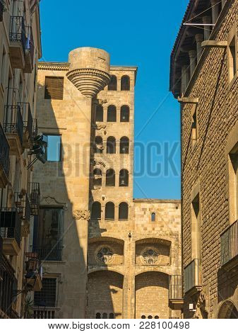 King's Martin Watchtower, iconic landmark in Placa del Rei, public square of the Gothic Quarter in Barcelona, Catalonia, Spain poster