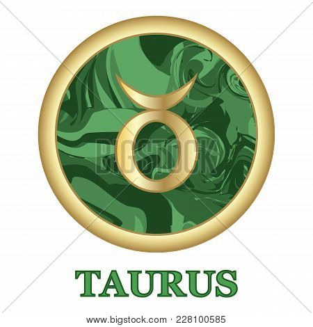 Taurus Zodiac Sign Icon Isolated. Astrology And Horoscope Graphic Design Element. Golden Symbol On M