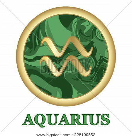 Aquarius Zodiac Sign Icon Isolated. Astrology And Horoscope Graphic Design Element. Golden Symbol On
