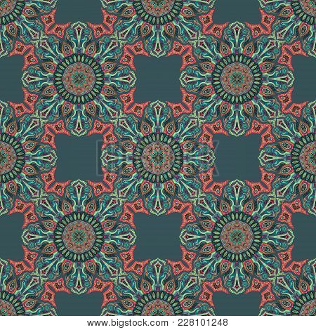Ornate Floral Seamless Texture, Endless Pattern With Vintage Mandala Elements. Can Be Used For Wallp