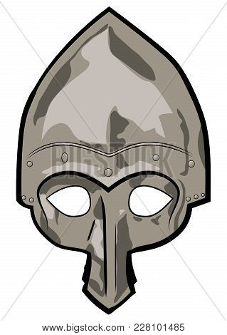 Old Slavic Warrior Helmet, Cone Helmet With Rivets And Nose Protection