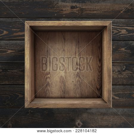 Empty wooden box on floor top view