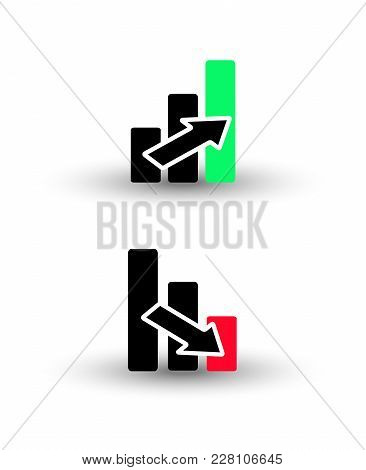 Bar Chart Icon - Growing And Descending Columns, Concept Of Growth Profit Financial Black Red And Gr