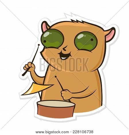 Sticker For Messenger With Funny Animal. Hamster Play The Drums. Vector Illustration, Isolated On Wh