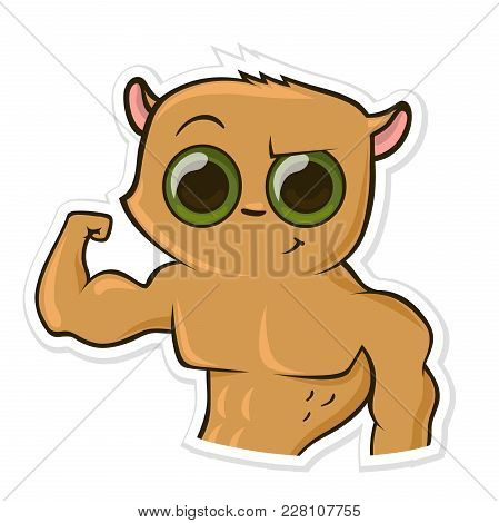 Sticker For Messenger With Funny Animal. Hamster Showing His Muscles, Biceps. Vector Illustration, I