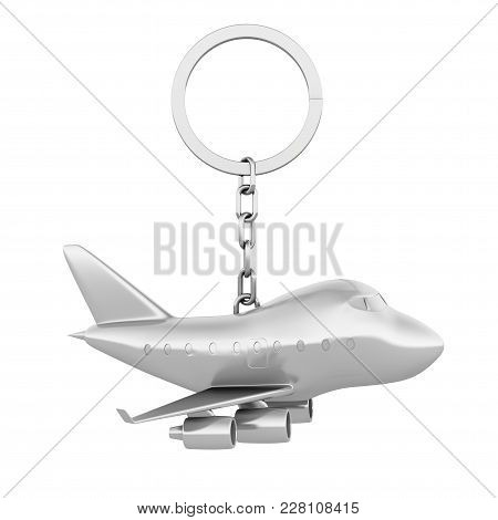 Metal Keychain Toy Jet Passengers Airplane On A White Background. 3d Rendering