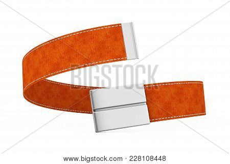 Brown Modern Leather Belt Icon On A White Background. 3d Rendering