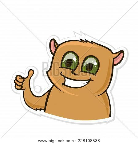 Sticker For Messenger With Funny Animal. Happy Hamster Showing Thumb-up Or Like Gesture. Vector Illu