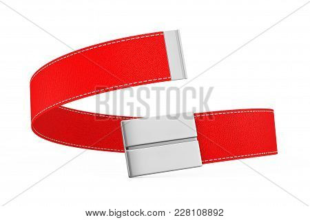 Red Modern Leather Belt Icon On A White Background. 3d Rendering