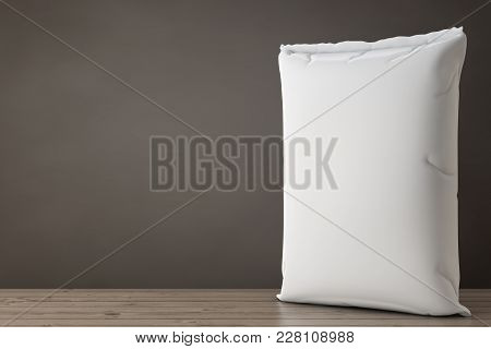 White Blank Paper Sack Cement Bag On A Wooden Floor. 3d Rendering