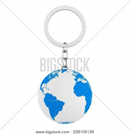 Keychain As Earth Globe On A White Background. 3d Rendering