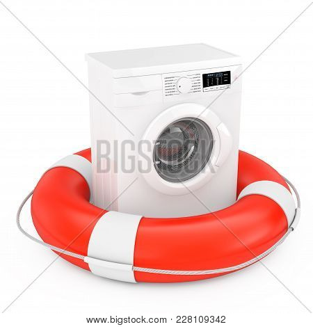 Modern White Washing Machine With Life Buoy On A White Background. 3d Rendering