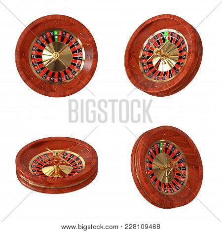 Casino Roulette Wheel On A White Background. 3d Rendering