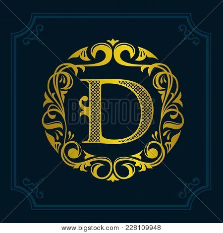 The Monogram A Letter D In An Elegant Frame. D Golden Template For Cafe Bars Boutiques Invitations.