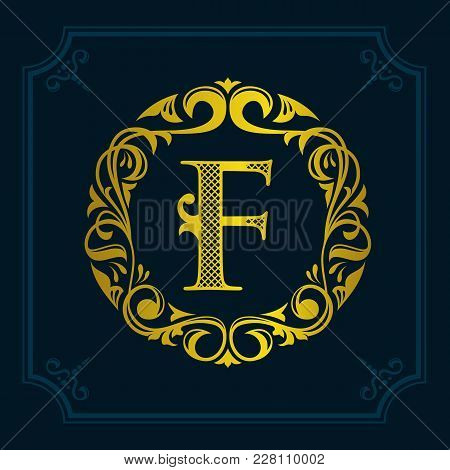 The Monogram A Letter F In An Elegant Frame. F Golden Template For Cafe Bars Boutiques Invitations.