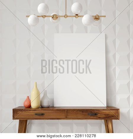 White Geometric Pattern Room, Table And Poster