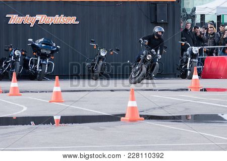 Minsk, Belarus - April 24, 2016 Hog. Harley Owners Group Opening Driving Season Show. Man Is Going T