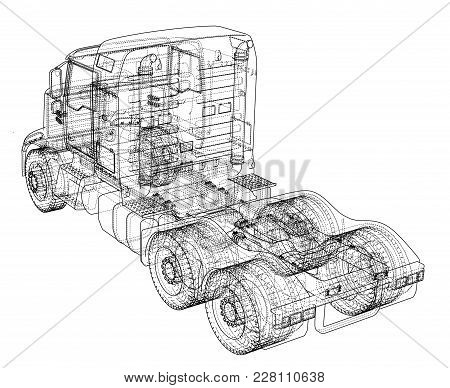 Concept Truck. Vector Rendering Of 3d. Wire-frame Style. The Layers Of Visible And Invisible Lines A