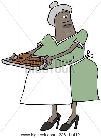 Illustration Of A Black Grandma Wearing A Dress And Apron Holding A Tray Of Chocolate Brownies.