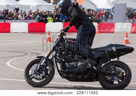 Minsk, Belarus - April 24, 2016 Hog. Harley Owners Group Opening Driving Season Show. People Watchin