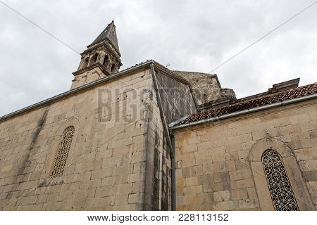 Part Of The Building Wall Of An Old Church In Perast In Montenegro