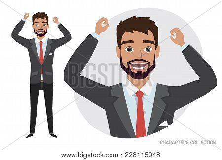 The Guy Is Happy And Smiling. Cartoon Style Man. Emotion Of Joy And Glee On The Man Face. The Man Po