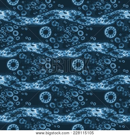 Abstract Geometric Background. Regular Concentric Circles Pattern With Wavy Lines Dark Blue Gray, Ho