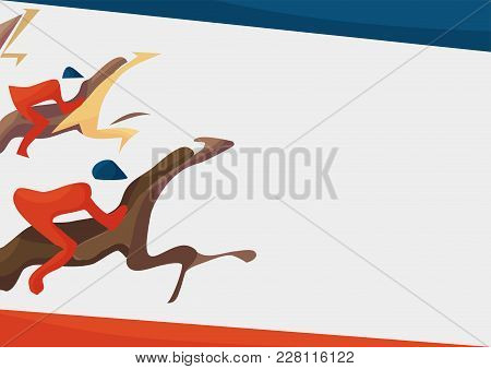 Vector Illustration For Horse Racing Events. Abstract Vector Poster Template With Copy Space Or Text