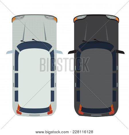 Hatchback Car Top View. White And Black Realistic And Flat Color Style Design. Illustrated Vector.