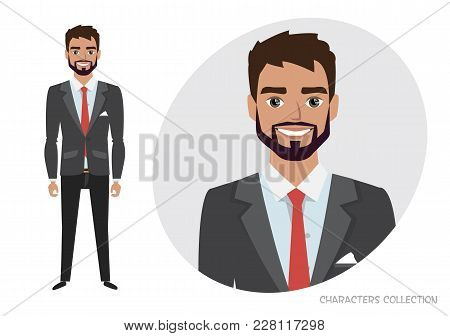 Full Length Portrait Of Cartoon Hipster Businessman. Character For Rigging And Animation. Vector Ill