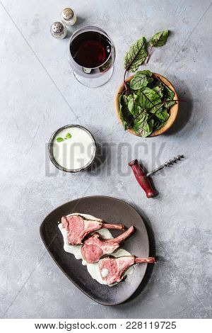 Grilled Sliced Rack Of Lamb With Yogurt Mint Sauce Served With Green Salad Young Beetroot Leaves, Gl