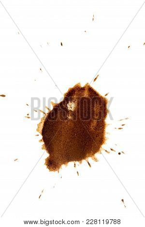 Spot Of Coffee Isolated On White Background .