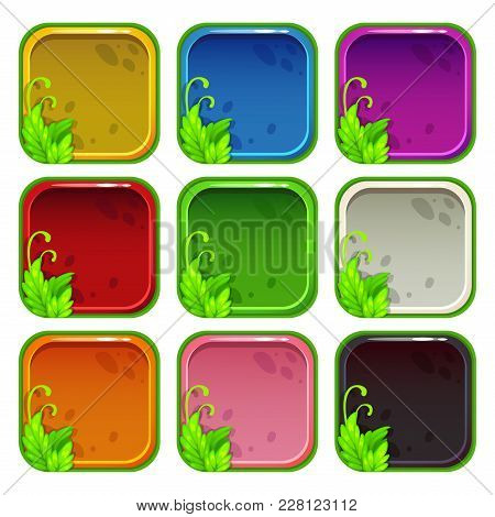 Cartoon Colorful App Icon Frames Set, Isolated On White Background. Vector Assets For Game Or Web De
